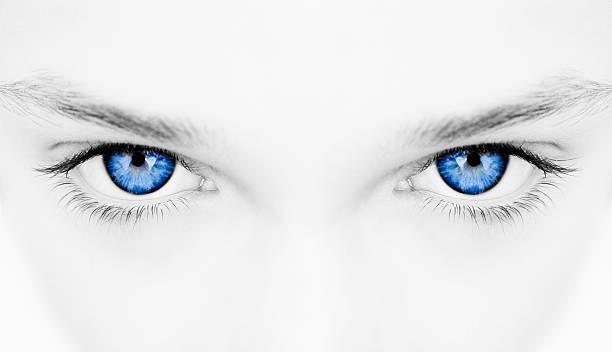 woman blue eyes stock photo