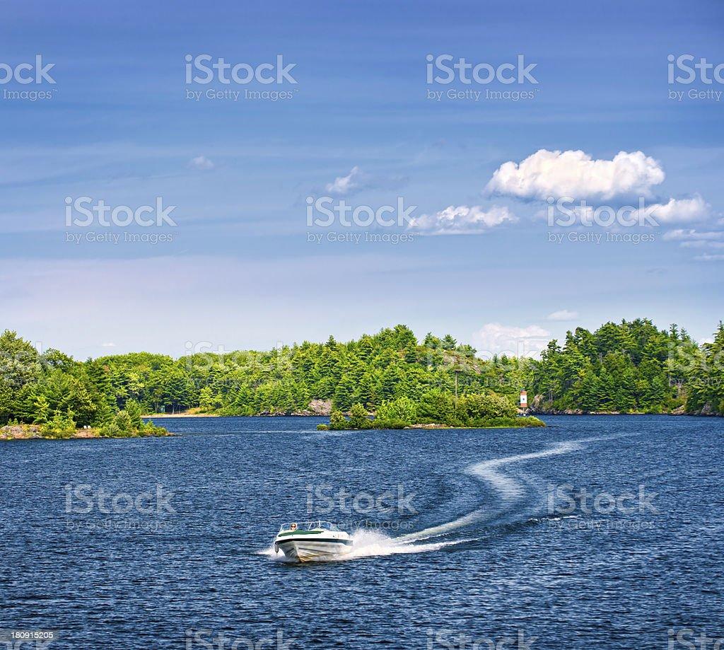 Woman boating on lake royalty-free stock photo