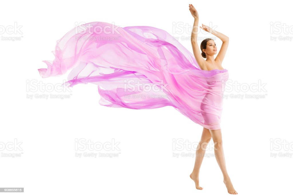 Woman Body Beauty, Model Dressed in Silk Pink Flying Fabric Fluttering on Wind, Walking Young Girl stock photo