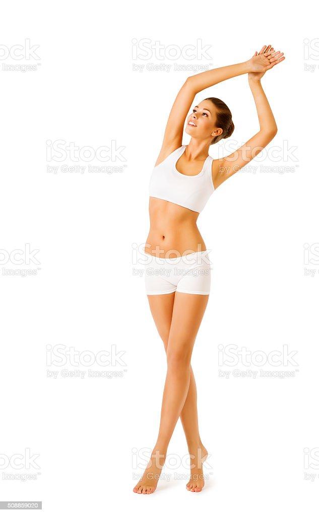 Frau Körper Schönheit Modell Mädchen Fitness-Übungen, Sport weißen Unterwäsche – Foto