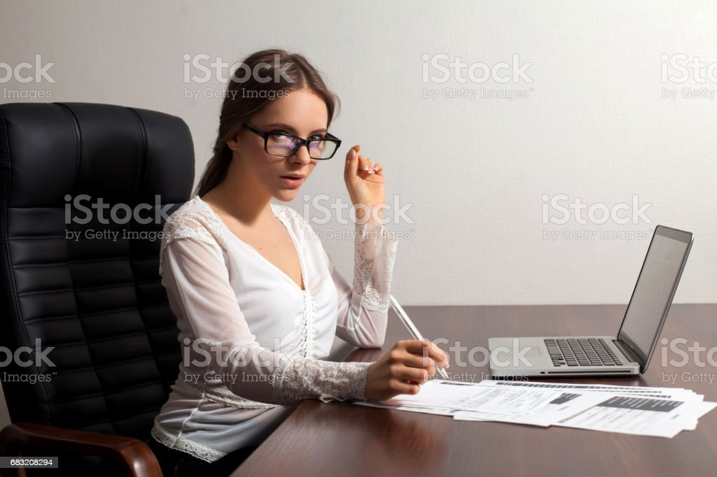 Woman boss works in the office royalty-free stock photo