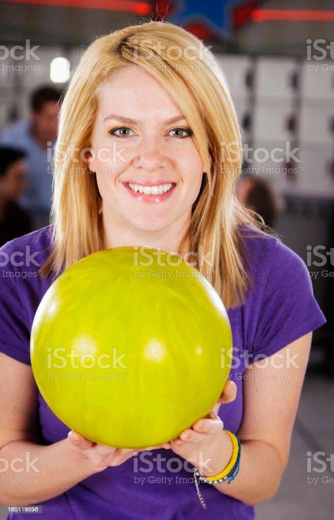 Woman Bowling stock photo