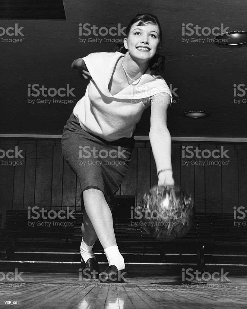 Woman bowling royalty-free stock photo
