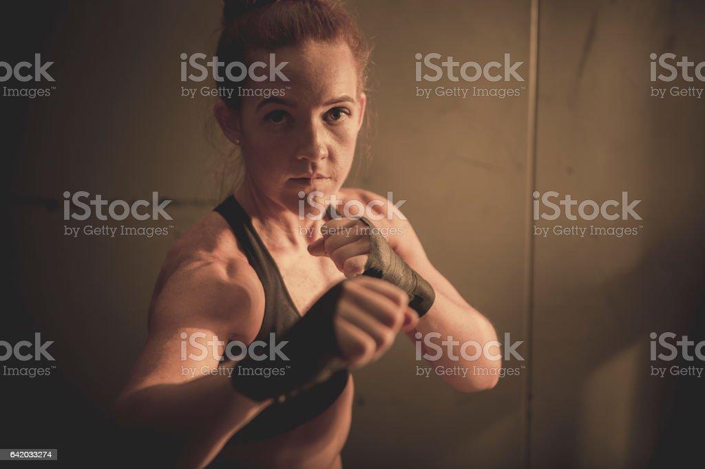 Woman boxing stock photo