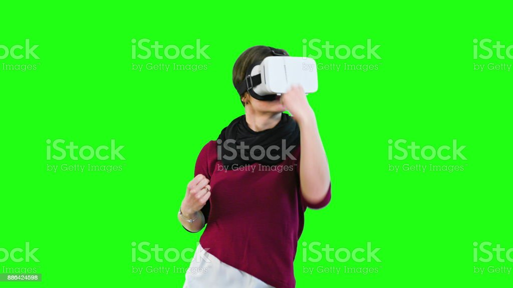 Woman Boxing with a VR Headset On stock photo