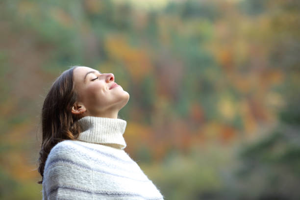 Woman breathing fresh air in the mountain in winter stock photo