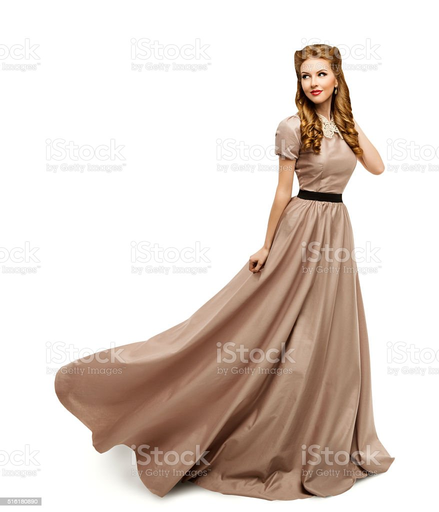 Woman Brown Dress, Fashion Model in Long Gown Turning, White stock photo