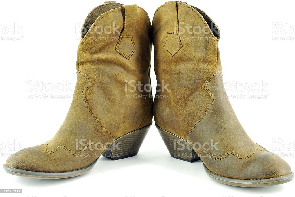woman brown leather cowboy boots royalty-free stock photo