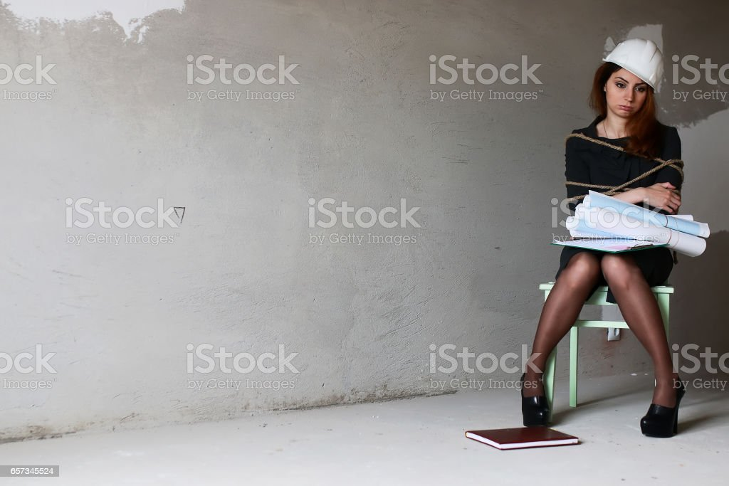 woman businessman sitting on chair associated workaholic concept stock photo