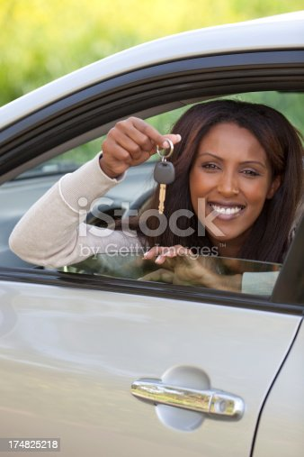 173607342 istock photo Woman buying a new car. 174825218