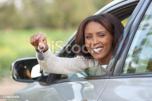 173607342 istock photo Woman buying a new car. 174825359