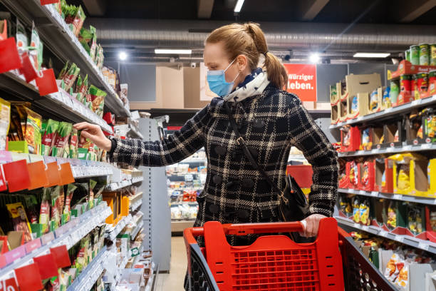 Woman buying grocery in supermarket during Covid-19 pandemic Woman wearing face mask buying grocery in supermarket during Covid-19 pandemic. Female with a shopping cart purchasing some food items in supermarket. avoidance stock pictures, royalty-free photos & images