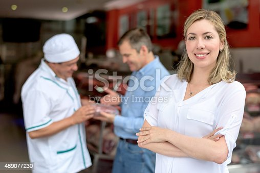 istock Woman buying meat at the butchery 489077230