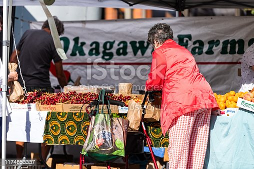 Aspen, USA - July 6, 2019: Woman buying produce at vegetable stands in farmers market with displays in outdoor summer street and sign for Okagawa Farms