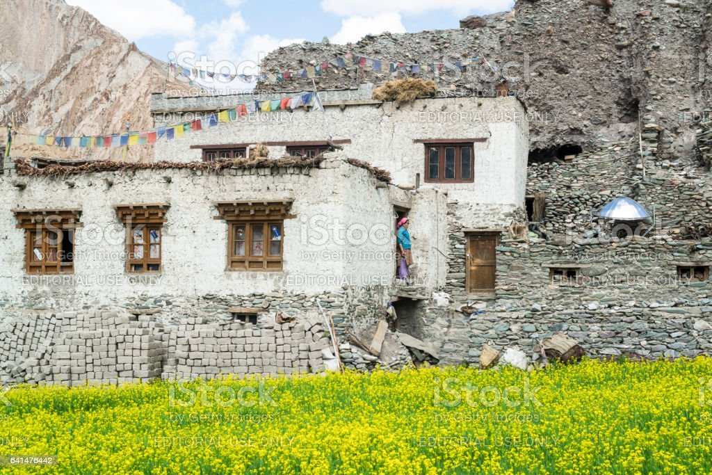 Woman by the doorway of her mud-brick house in Markha village. Trekking in Markha valley (Ladakh) stock photo