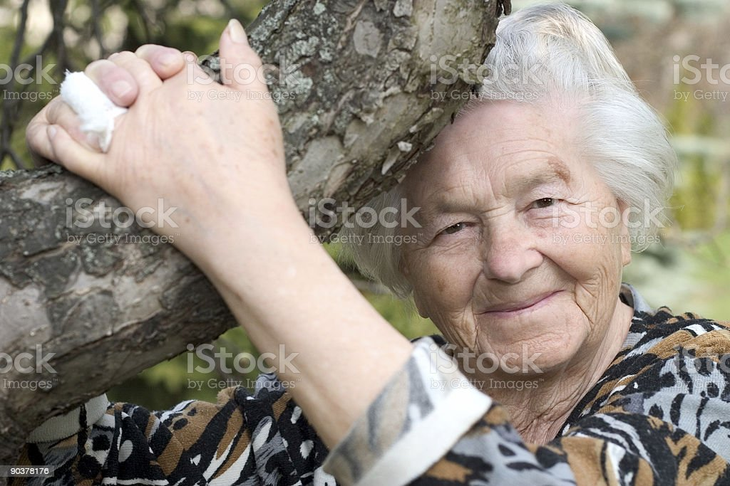 Woman by the tree royalty-free stock photo