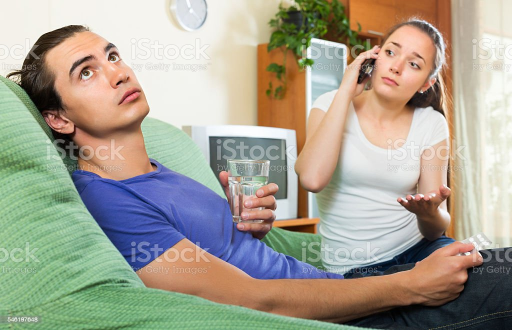 Woman calling to emergency stock photo