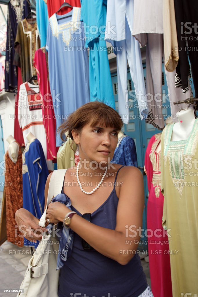 A woman came to the market for shopping royalty-free stock photo