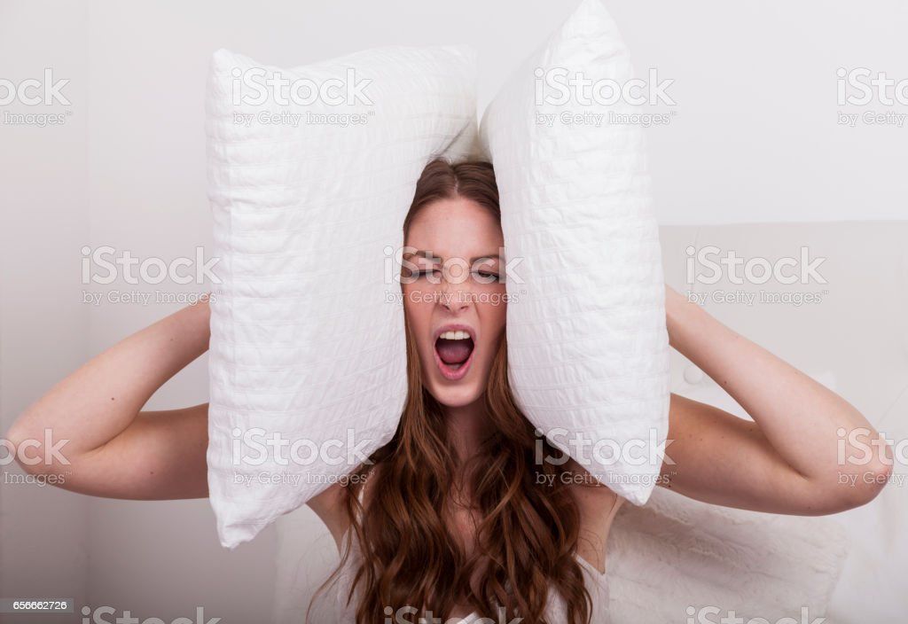 woman can not sleep stock photo