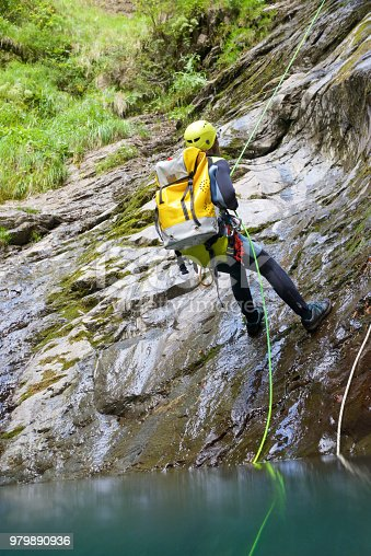 Canyoning in Lapazosa Canyon, Bujaruelo Valley, Pyrenees, Huesca Province, Aragon, Spain.