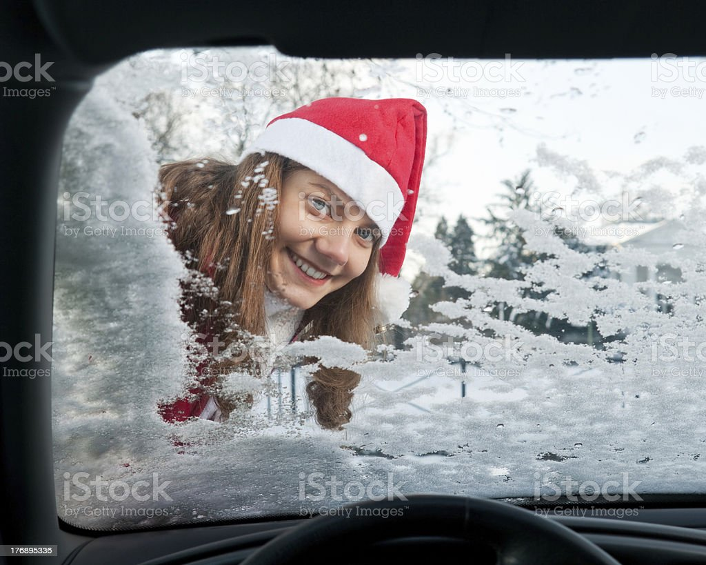 Frau, Auto, Winter stock photo