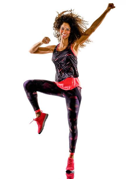Frau Cardio-Tänzerin tanzen Fitness-Fitness-Übungen isoliert weißen Hintergrund – Foto