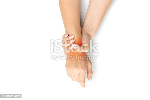 668285874 istock photo Woman carpal tunnel. Arthritis office syndrome is consequence of computer. Hand pain in woman injury wrist. Health care and medical concept. 1255850824