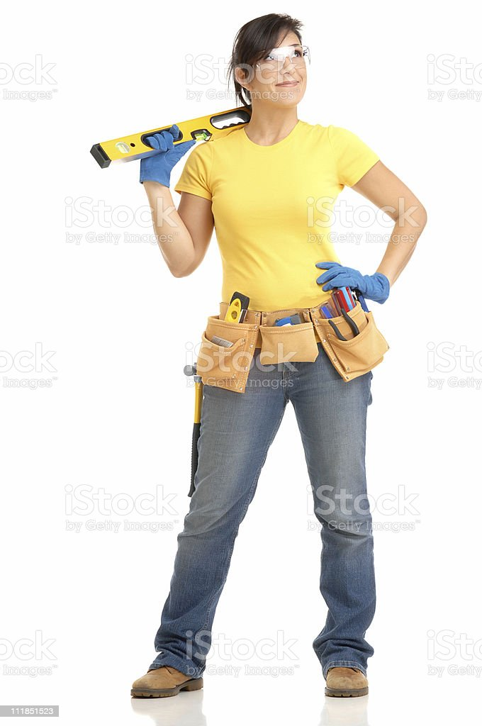 Woman Carpenter Construction Worker Toolbelt Level Protective Goggles on White royalty-free stock photo