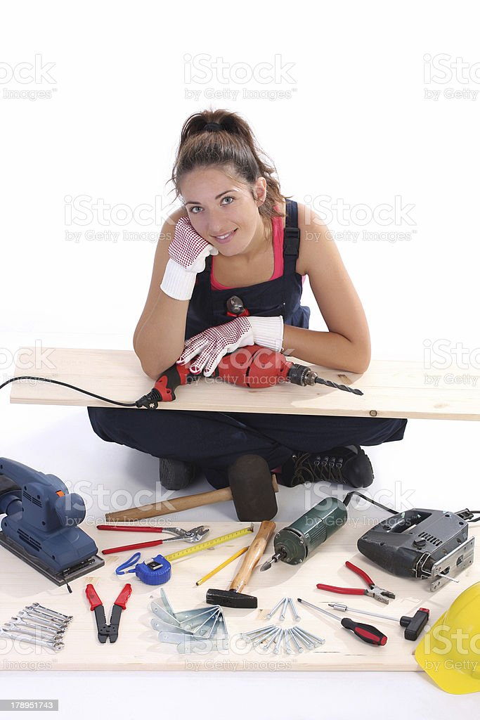woman carpenter with work tools royalty-free stock photo