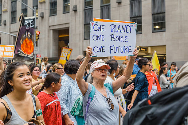 Woman carries placard during the 2014 People's Climate March, NYC. stock photo