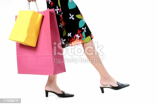istock Woman carries shopping bags. Isolated on white background. Summer. Skirt. 174096751