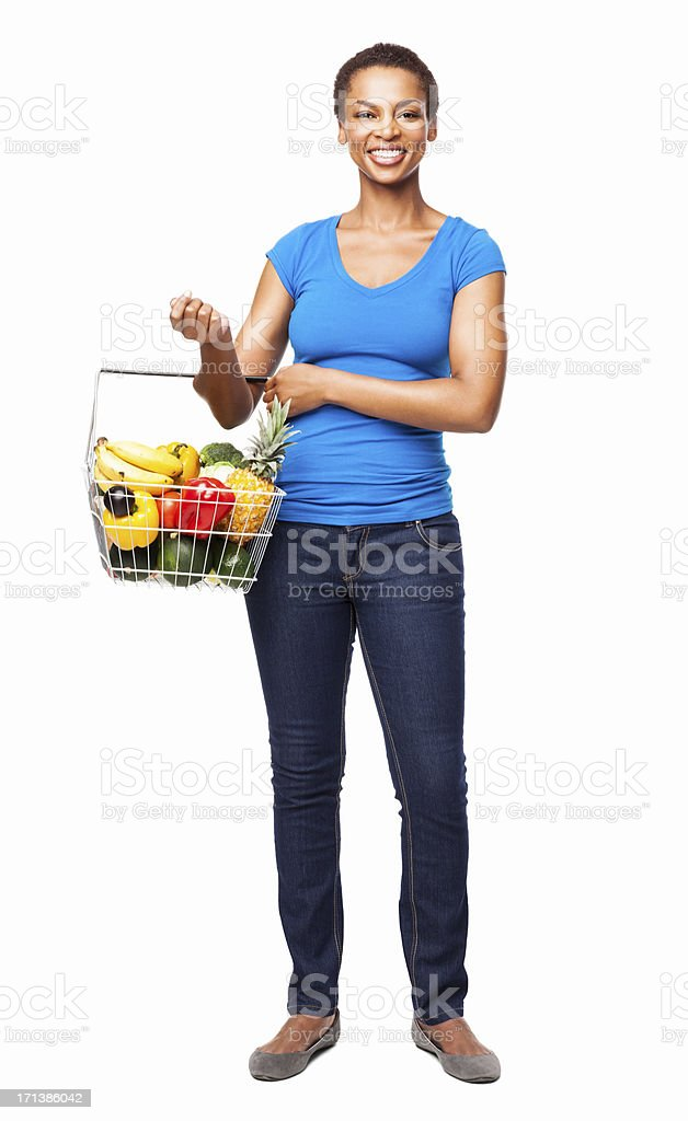 Woman Carrying a Basket Of Fresh Groceries - Isolated royalty-free stock photo
