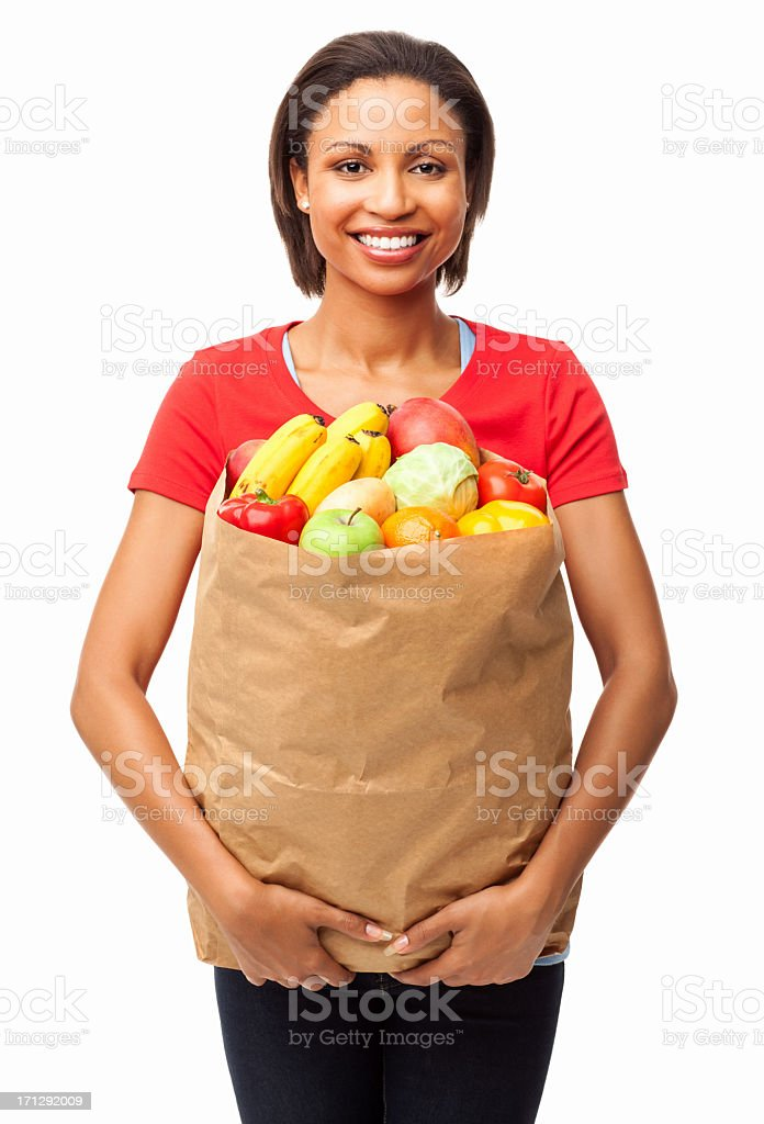 Woman Carrying Bag of Healthy Groceries - Isolated stock photo