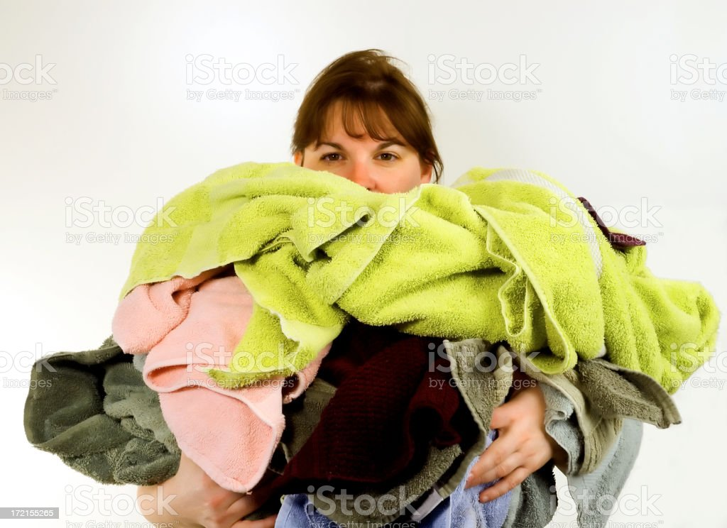 woman carrying clothes royalty-free stock photo