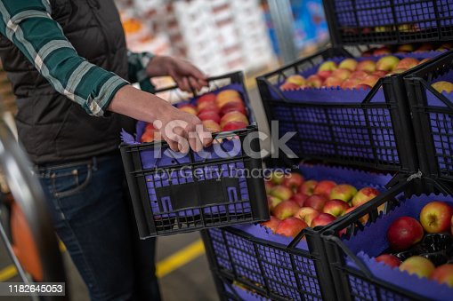 Mid section of mature woman carrying a plastic crate full of fresh apples.