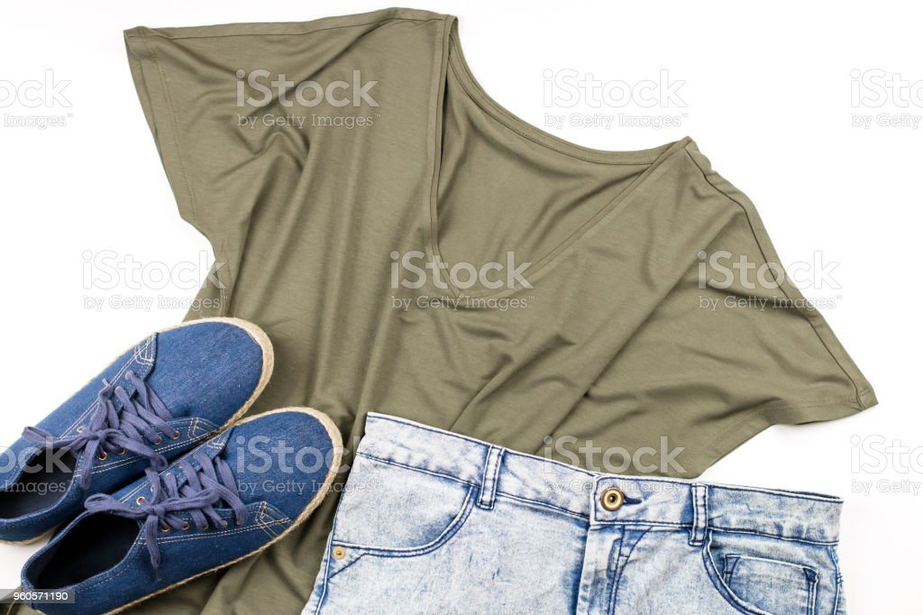 Woman casual style clothes on white background. stock photo
