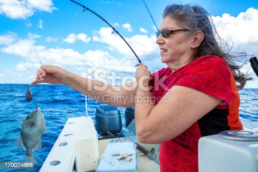 155674939istockphoto Woman catching a fish 170024869