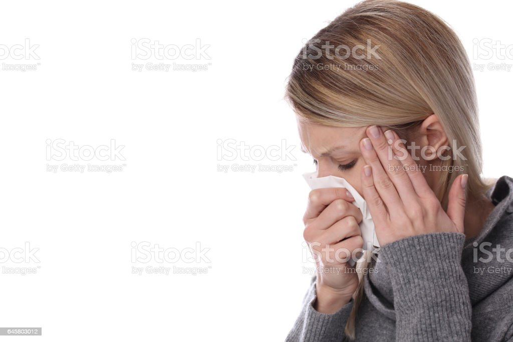 Woman caught cold , flu, running nose. Healthcare and medical concept isolated on white stock photo