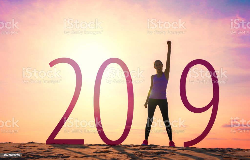 Woman celebrating new year stock photo