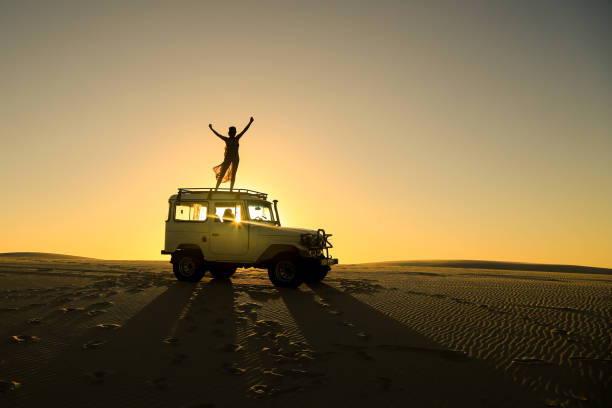 woman celebrating on top of offroad car - adventure stock photos and pictures