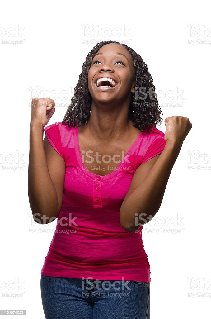 Woman celebrating stock photo