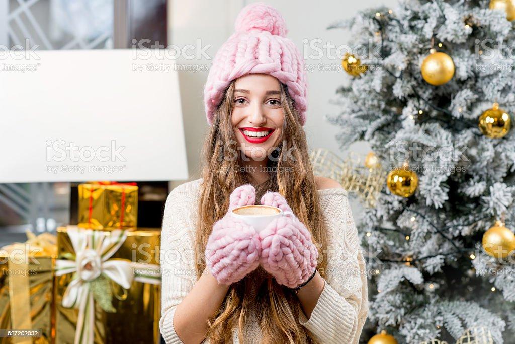 Woman celebrating winter holidays stock photo