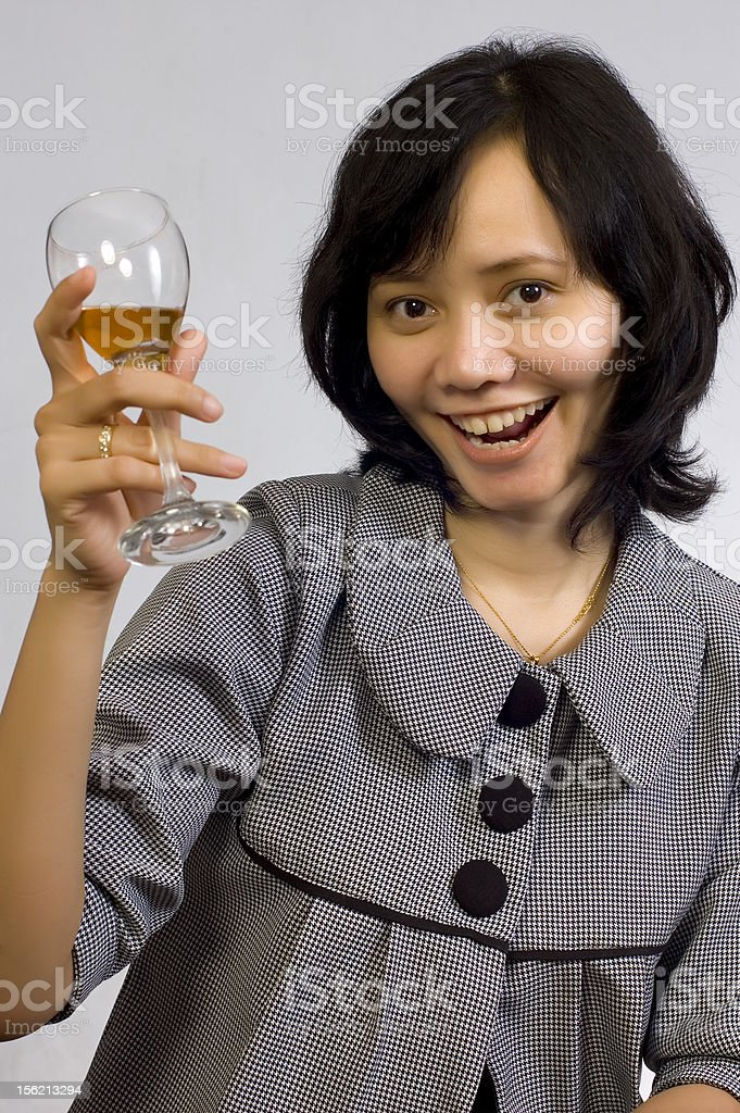 Woman Celebrating With Wine royalty-free stock photo