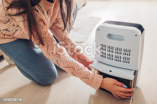 istock Woman changing water container of dehumidifier at home. Dampness in apartment. Modern air dryer 1078226718