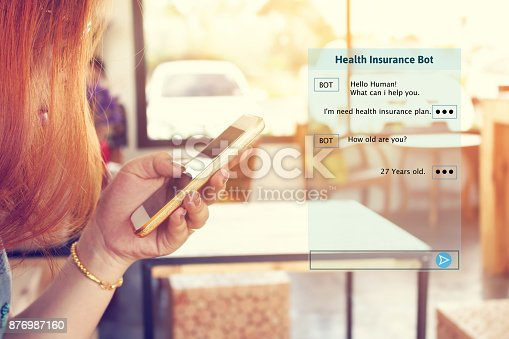 istock Woman chatting with automatic bot on smartphone and talking about consulting health insurance. 876987160