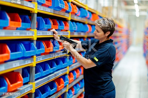 istock Woman checking barcodes in warehouse 1182822222