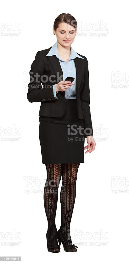 Woman Checking her Mobile Phone stock photo