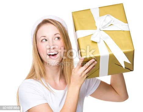 istock Woman checking the big gift box 524691655