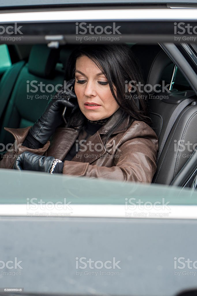 Woman checking the time stock photo