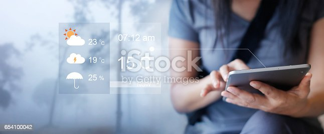 istock Woman checking up the weather forecast from tablet application 654100042